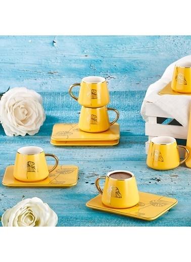 Aryıldız Aryıldız Prestige New Bone Sarı 6 Kişilik Kahve Fincan Takımı Sarı